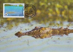 Palau 1994 Maxicard Sc #323d 20c Estuarine crocodile WWF