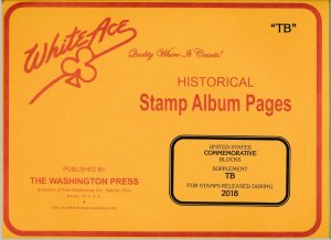 WHITE ACE 2018 US Commemorative Blocks Stamp Album Supplement TB  NEW!