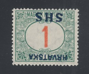 Yugoslavia Sc 2LJ2a MNH. 1918 1f green & red Postage Due, inverted ovpt, F-VF