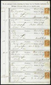 1867 Bank ledger page with R6c revenue stamps handstamp cancels L8
