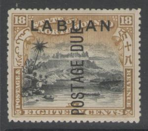 LABUAN SGD8 1901 18c BLACK & OLIVE-BISTRE MTD MINT