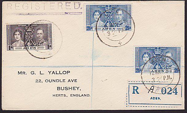 ADEN 1937 Coronation registered FDC........................................7449