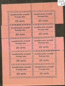 ZANZIBAR (P0208B)  POSTAGE DUE 25C RECONSTRUCTRED SHEETLET OF 10   SGD23   NGAI