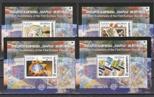 Georgia, Scott cat. 394-397. 50th Anniversary of Europa Stamps. 4 s/sheets.