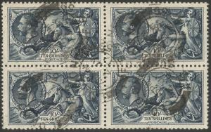 GB KGV 1934 SG452 10s Indigo Re-engraved Block Of 4 Seahorse Stamps. Fine Used.