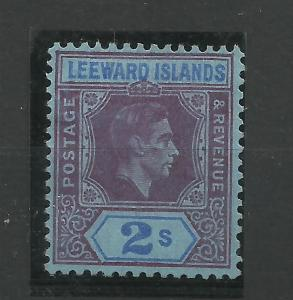 Leeward Is, 1938 Sg 111A, 2/- Reddish Purple & Blue/Blue Ordinary paper, Av M/M.