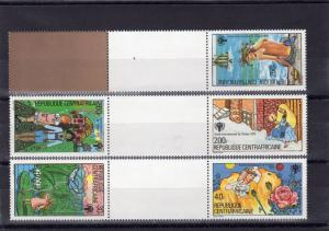 Central African 1979 Sc#393/397 INTERNATIONAL YEAR OF THE CHILD GUTTER-PAIRS DIF