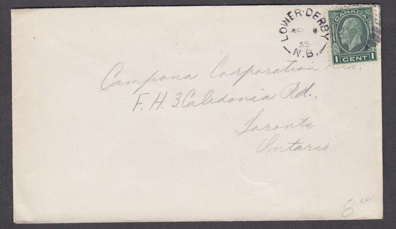 NEW BRUNSWICK SPLIT RING TOWN CANCEL COVER LOWER DERBY