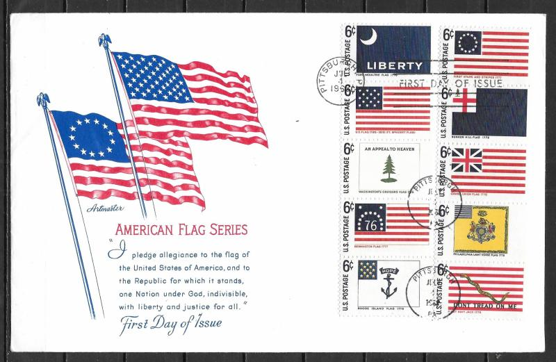 United States 1345-54 Historic Flags Artmaster Cachet FDC First Day Cover