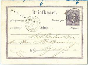 73758 - DUTCH INDIES - POSTAL HISTORY: STATIONERY CARD  with rare postmarks 1879