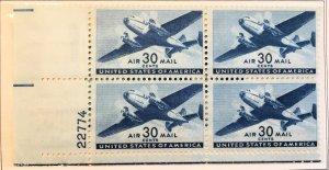 C30 Twin Engine Transport, MNH, block plate, Vic's Stamp Stash