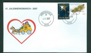 Denmark Cover Cachet  # 31  Christmas Seals Walk 2007. Copenhagen. Mail Coach