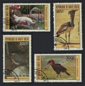 Upper Volta Flamingo Bustard Hornbill Birds 4v 1984 CTO SG#701-704