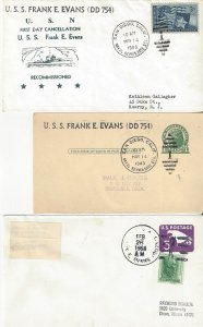 US Naval Cover USS Frank E. Evans DD 754  1949 Recommissioned (2), 1968