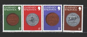 Guernsey. 1979. 174-80 from the series. Coins on stamps. MNH.