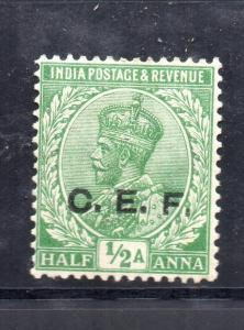 India Abroad CEF gv 1914 SGC24 1/2as  green   MM