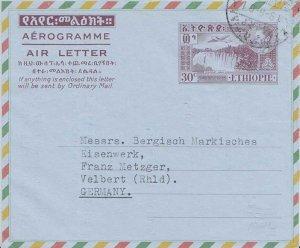 Ethiopia 30c Tesissat Falls, Abai River Air Letter 1961 Ethiopia Airmail to V...