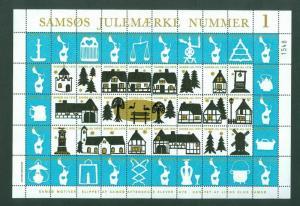 Denmark. Christmas Sheet Local Samso  # 1 Issue Lions Club 1979.  Windmill. CV=$