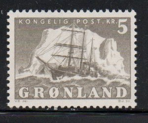 Greenland Sc 38  1958 5 kr ship stamp mint NH
