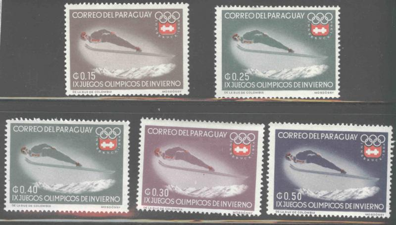 Paraguay Scott 783-787 MH*  Winter Olympic stamps