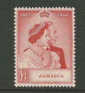 JAMAICA 1948 Sg 144, £1 Scarlet Royal Silver Wedding Single UnM/Mint. {B9-62}