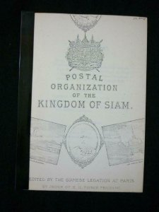 POSTAL ORGANIZATION OF THE KINGDOM OF SIAM by SIAMESE LEGATION PARIS - PHOTOCOPY