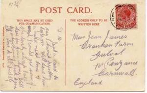 Gibraltar 1d KGV 1918 Gibraltar, 25 PPC to Gulval, England.