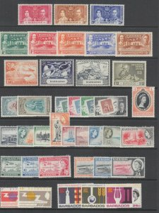 Barbados Sc 190/375 MLH. 1937-72 issues, 16 complete sets, few NH, fresh, F-VF.