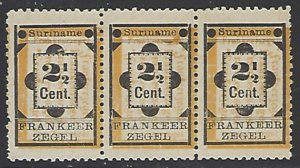 Suriname #22 Miny No Gum As Issued Strip of 3 cv $5.70