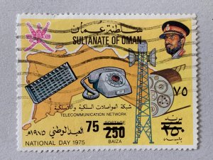 Oman rare 1978 75b on 250b, postally used. Scott 190C CV $2,500.00. Michel 192