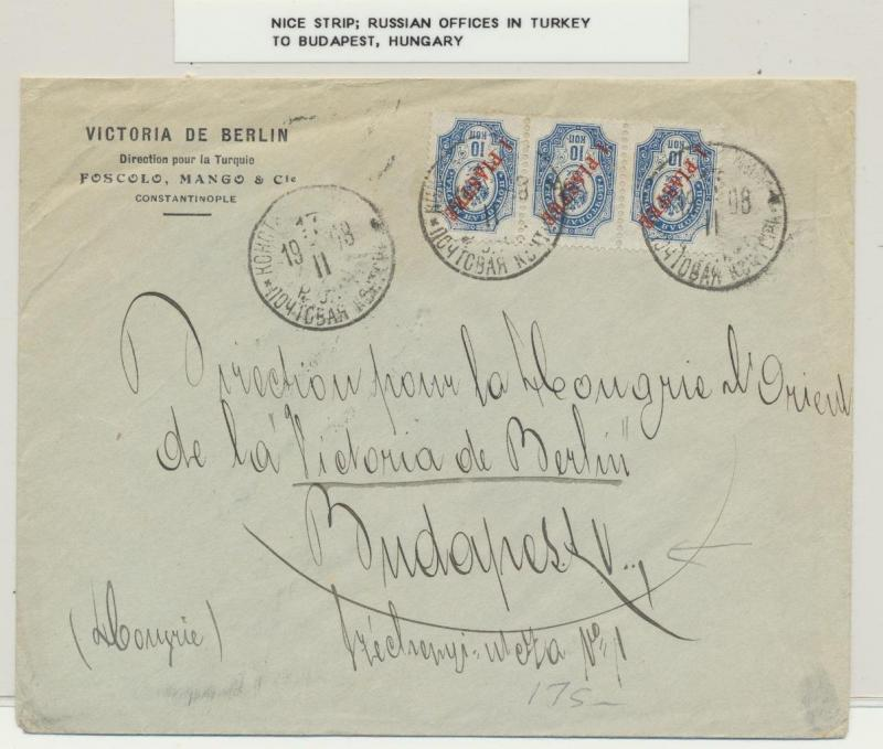RUSSIA OFFICES IN TURKEY 1908 TO BUDAPEST COVER, STRIP OF 3
