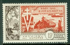 COMORO : 1954. Scott #C4 Very Fine, Mint Original Gum VLH. Catalog $47.00.
