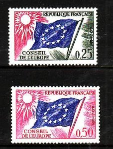 France-Sc#1O8-9- id2-Unused NH 2/3 set-Conseil De L'Europe-Flags-1963-