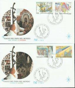 VATICAN POPE JOHN PAUL II VISITS POLAND LONDON CANADA BELIZE 1986 4 FDC R202054