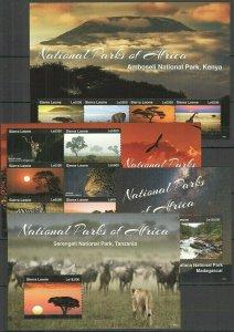 V1075 2015 SIERRA LEONE WILD ANIMALS NATIONAL PARKS MICHEL 60 EURO 2KB+2BL FIX