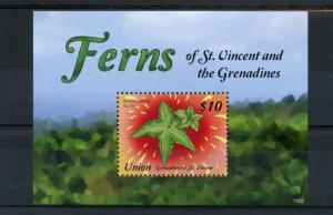 Union Island Grenadines St Vincent 2015 MNH Ferns 1v S/S Plants Star Fern Nature