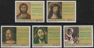 Vatican City Stamp Set - Scott #487-491/A146 Portraits of Christ OG Mint/LH 1970