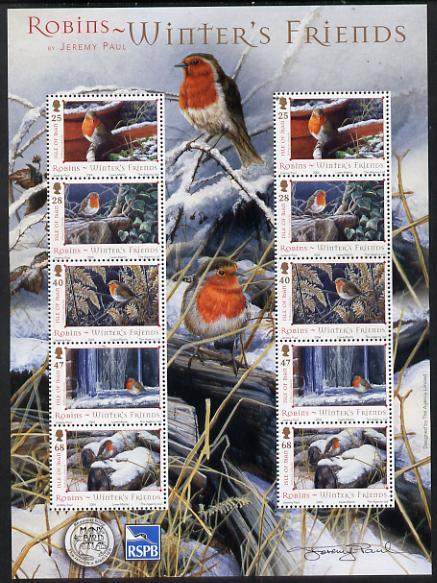 Isle of Man 2004 Robins - Winter\'s friends perf sheetlet...