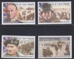Turks & Caicos # 1100, 1101, 1105, 1106, D Day 50th Anniversary, NH