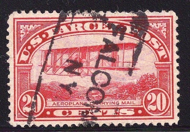 Q8 SUPERB USED 20c PARCEL POST-Aeroplane Carrying Mail-FALCONER NY Cancel (Q8-5)