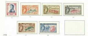 TURKS AND CAICOS  1957-60 FISH SCOTT 121-35 MNH SHORT SET