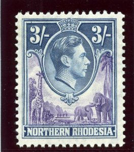Northern Rhodesia 1938 KGVI 3s violet & blue MLH. SG 42. Sc 42.