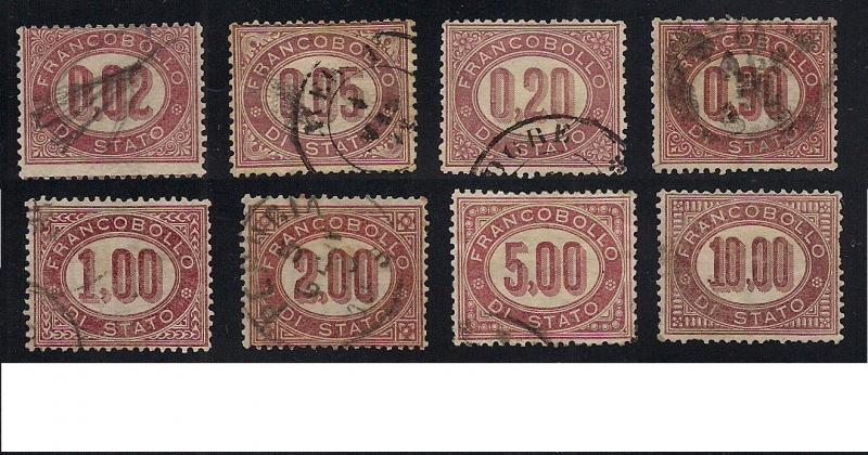 Italy #'s O1 to O8 Official Stamps - Used - Cat:$438.85