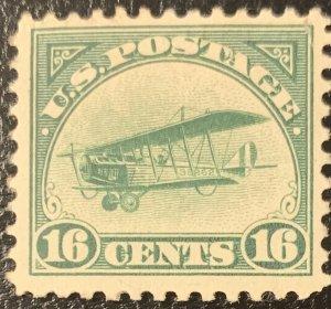 #C2 - Mint Light Hinge – 1918 16c Curtiss Jenny, Green Airmail Stamp.