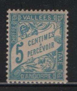 ANDORRA, J17, HINGED, 1935-41, POSTAGE DUE STAMP