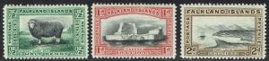FALKLAND ISLANDS 1933 CENTENARY 1/2D 1D AND 2D