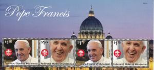 Micronesia 2014 MNH Pope Francis 4v M/S II Popes Roman Catholic Church Religion
