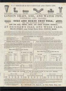 MASSACHUSETTS: Boston 1857 #7 T.J. Brigham PIPE/TILE Priced Circular