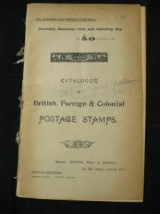 VENTOM BULL & COOPER AUCTION CATALOGUE DEC 1904 with BRITISH AFRICA ETC