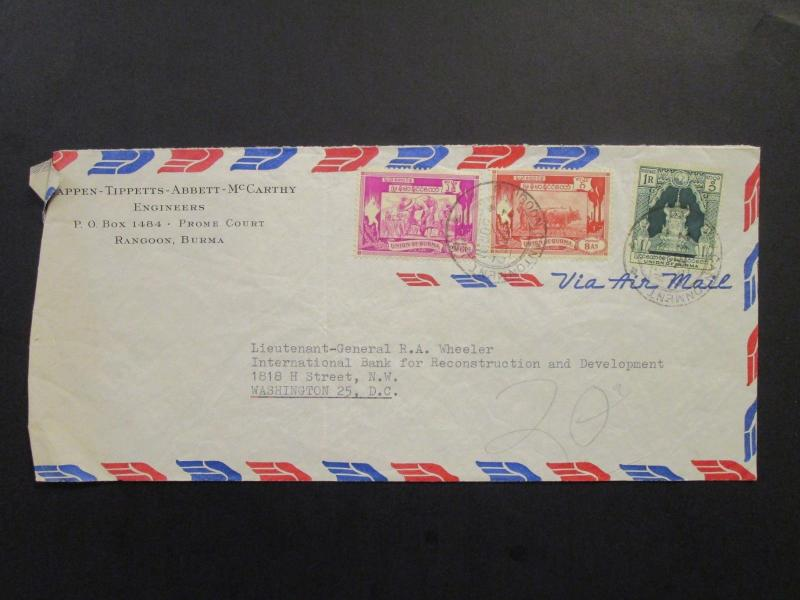 Burma 1952 Airmail Cover to USA / Creased Left Side / Light Fold - Z6498